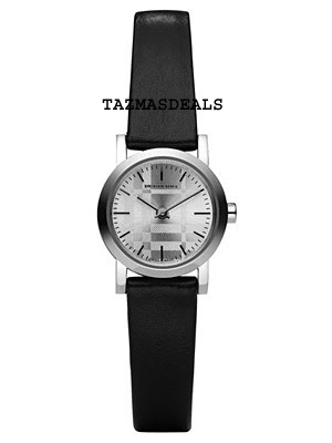NEW BURBERRY ENGRAVED SILVER DIAL BLACK LEATHER BAND WATCH BU176